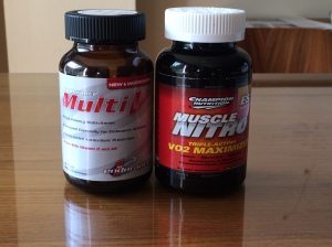 Bottles of Multi-V and Muscle Nitro