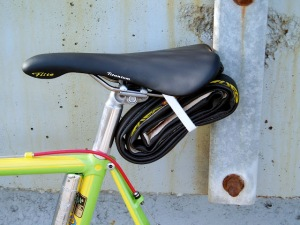 Tubular Tire Strapped Under Saddle
