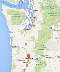 Map of Pacific Northwest Pin on Portland
